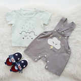 Babylah.com - Comfy Collar Stripe RomperAdorable Cloud Tee & Stylist Overall 2-piece Set