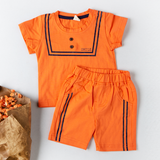 Babylah.com - Swag Top & Shorts In Orange 2-piece Set