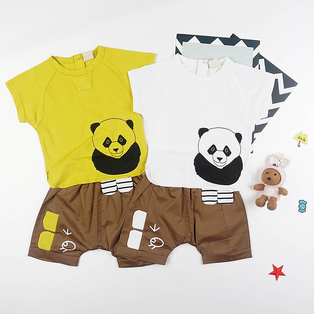 Babylah.com - Cute Panda Bear Top & Shorts 2-piece Set