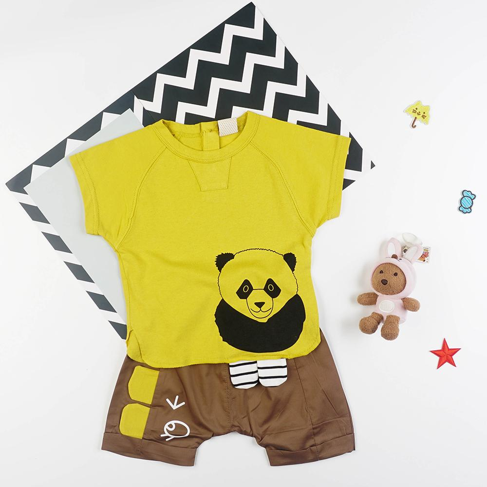 Cute Panda Bear Top & Shorts 2-piece Set