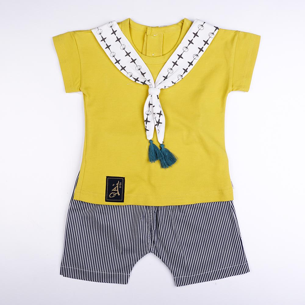 Babylah.com - Neckerchiefs Top & Striped Pants 2-piece Set