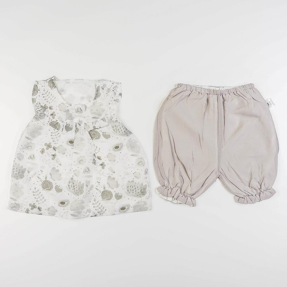 Babylah.com - Artsy Ruffled Collar Top & Pants 2-piece Set