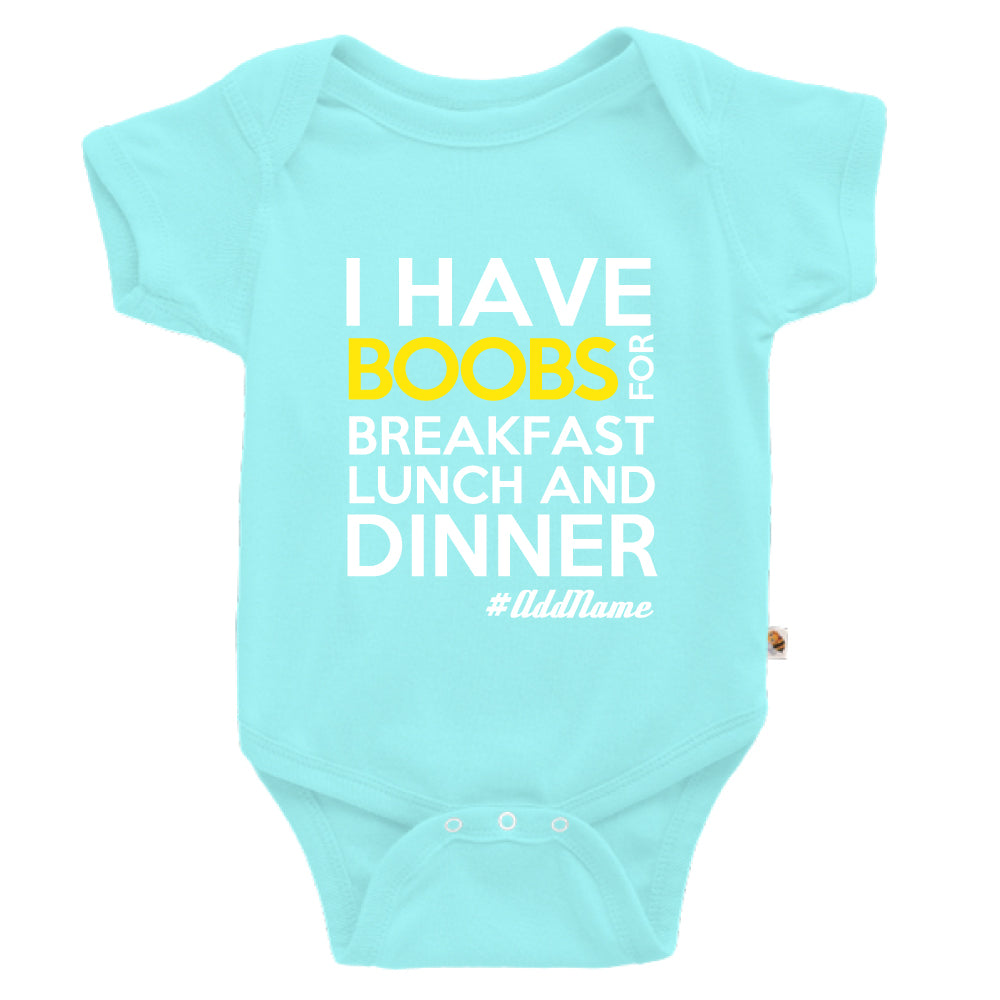 Teezbee.com - Boobs Breakfast Lunch Dinner - Romper (Light Blue)