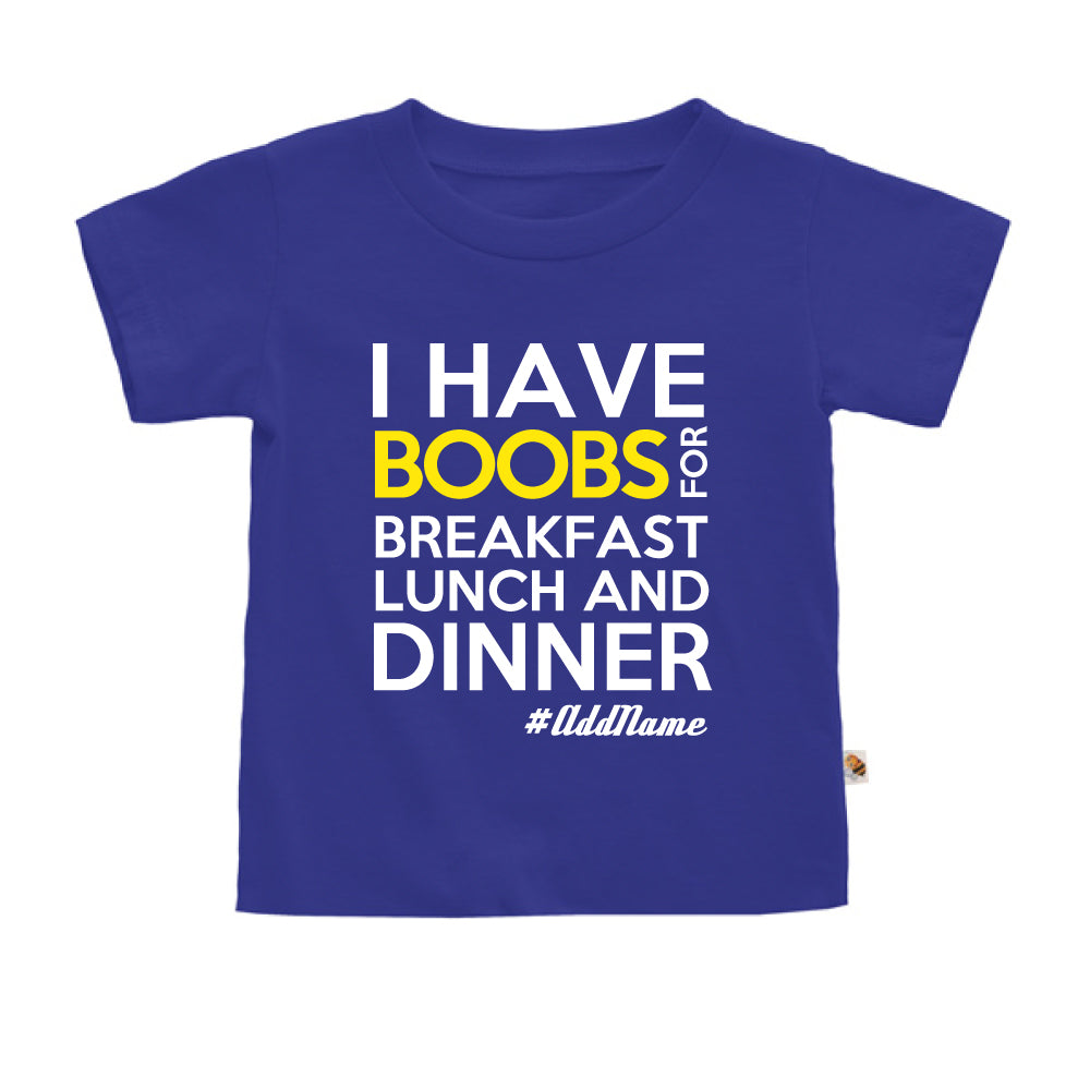 Teezbee.com - Boobs Breakfast Lunch Dinner - Kids-T (Blue)