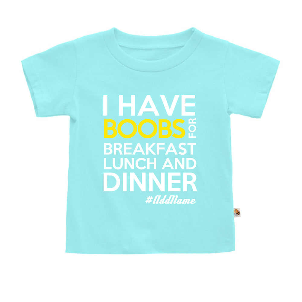 Teezbee.com - Boobs Breakfast Lunch Dinner - Kids-T (Light Blue)