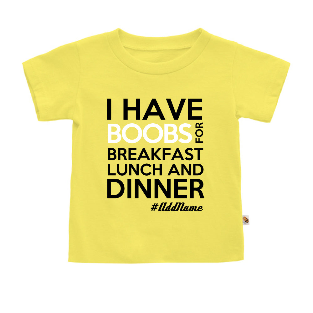 Teezbee.com - Boobs Breakfast Lunch Dinner - Kids-T (Light Yellow)