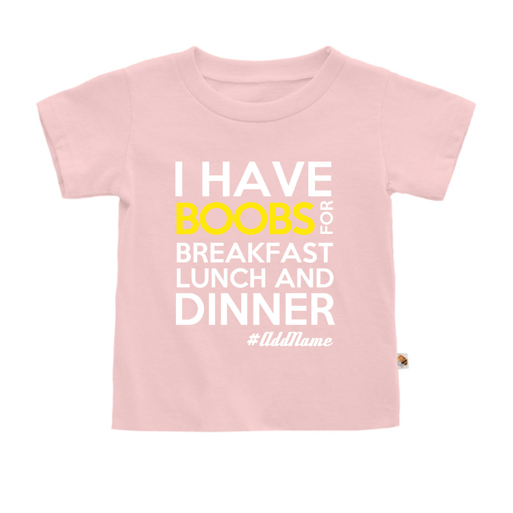 Teezbee.com - Boobs Breakfast Lunch Dinner - Kids-T (Pink)