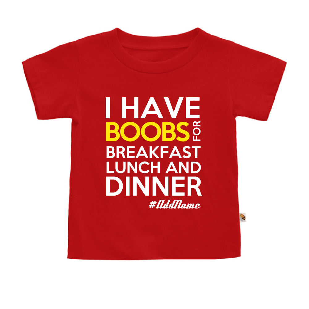 Teezbee.com - Boobs Breakfast Lunch Dinner - Kids-T (Red)
