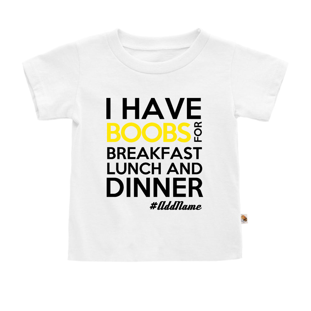 Teezbee.com - Boobs Breakfast Lunch Dinner - Kids-T (White)