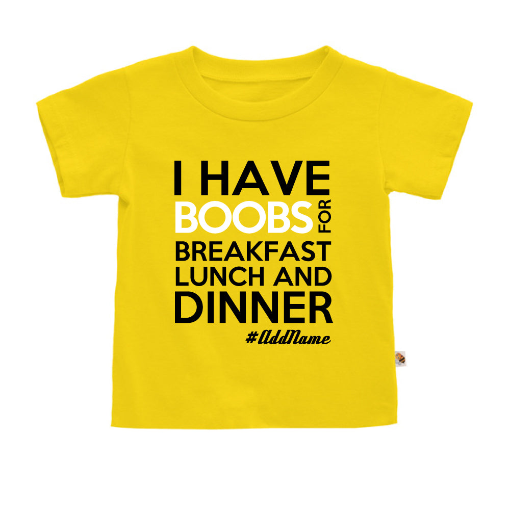 Teezbee.com - Boobs Breakfast Lunch Dinner - Kids-T (Yellow)