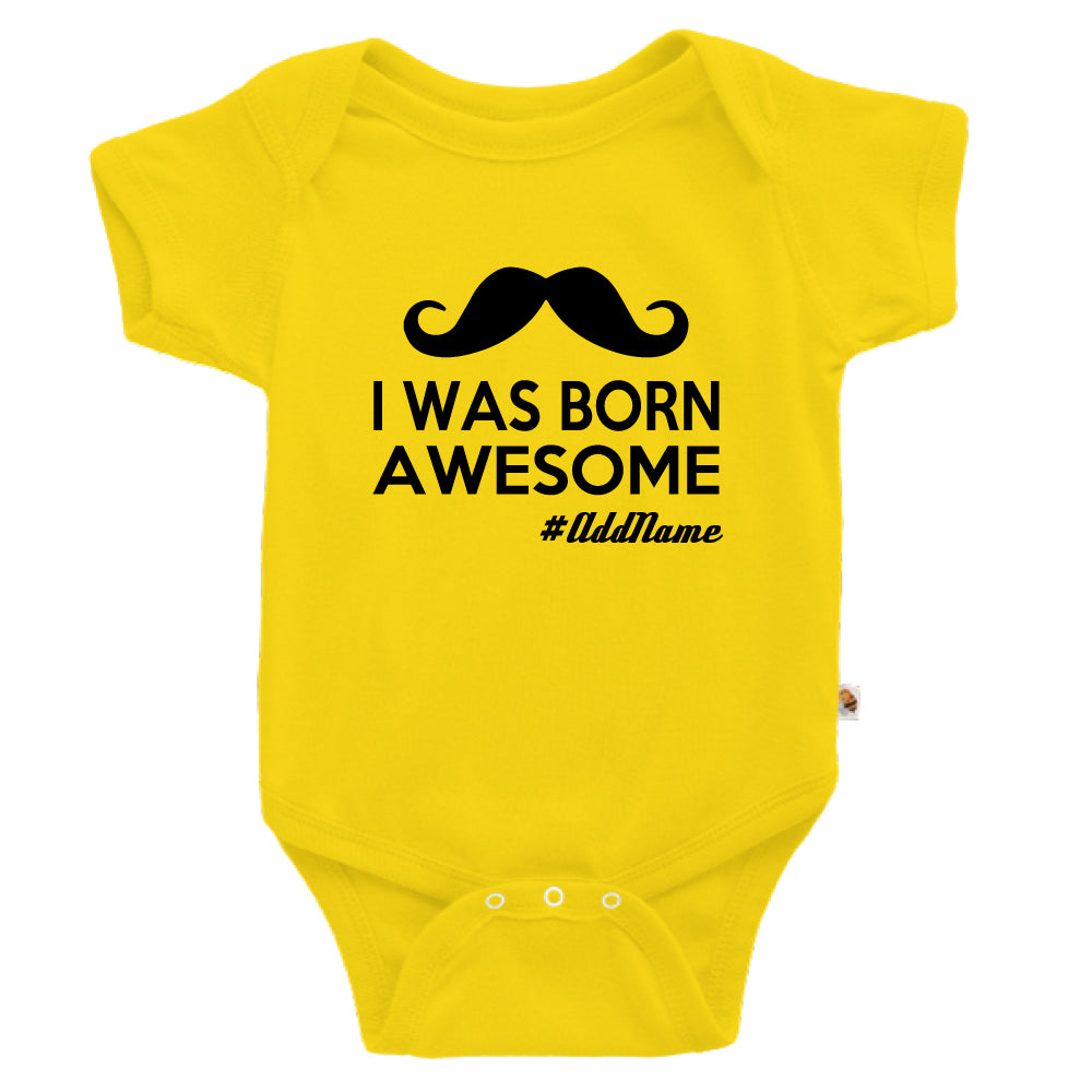 Teezbee.com - I Was Born Awesome - Romper (Yellow)