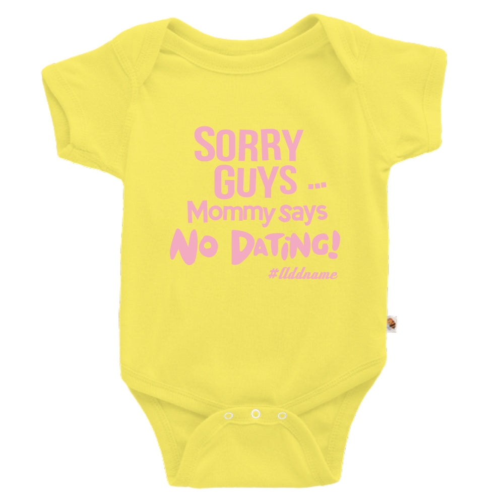 Teezbee.com - Mommy Says No Dating Guys - Romper (Light Yellow)