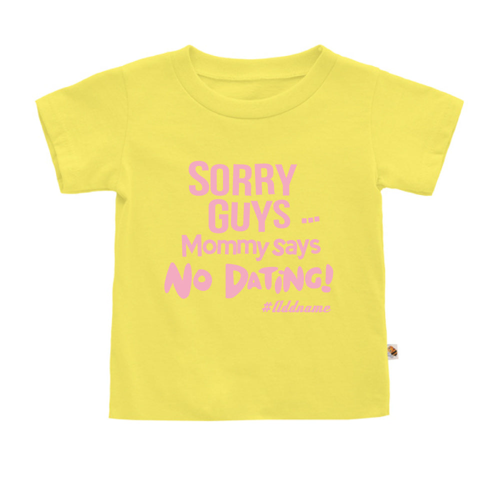 Teezbee.com - Mommy Says No Dating Guys - Kids-T (Light Yellow)