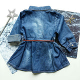 Babylah.com - Floral Embroidery Long Sleeve Denim Dress