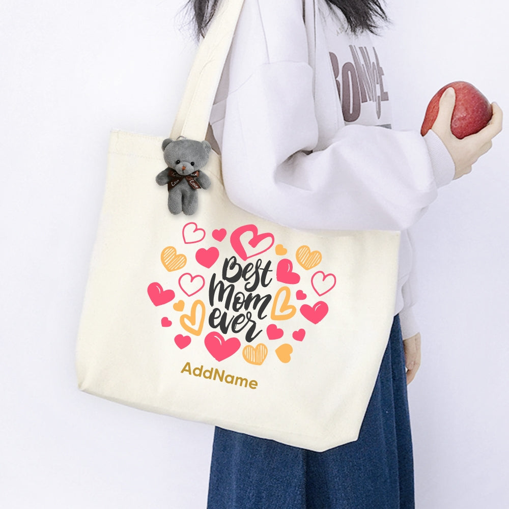 Teezbee.com - Best Mom Heart Canvas Bag