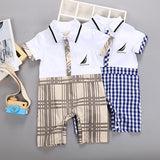 Babylah.com - Faux 2-piece Plaid Romper