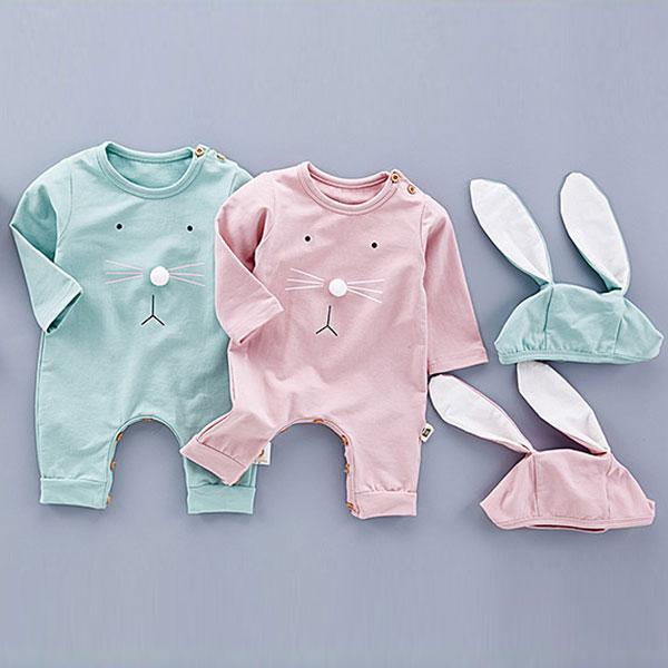 Babylah.com - Cute Romper With Bunny Hat