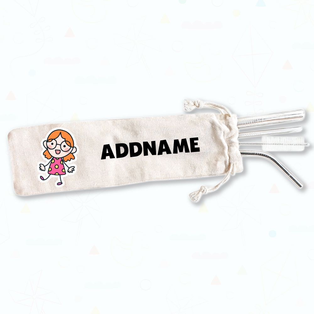 Teezbee.com - Children Straw Set (Nerdy Girl)