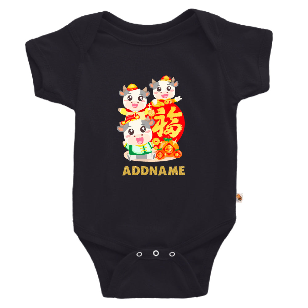 Teezbee.com - 3 Adorable FU Ox - Romper (Black)