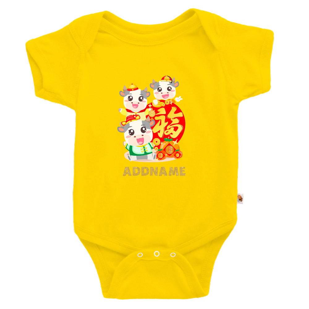 Teezbee.com - 3 Adorable FU Ox - Romper (Yellow)