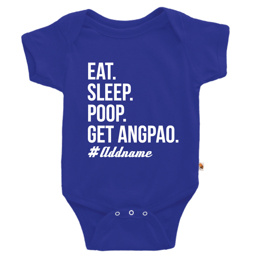 Teezbee.com - Eat Sleep Poop Get Ang Pao (Kids) - Romper (Blue)