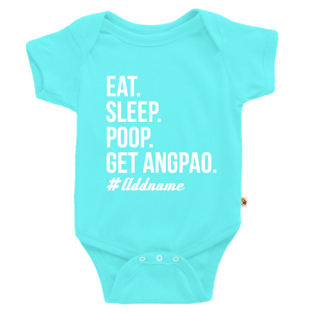Teezbee.com - Eat Sleep Poop Get Ang Pao (Kids) - Romper (Light Blue)