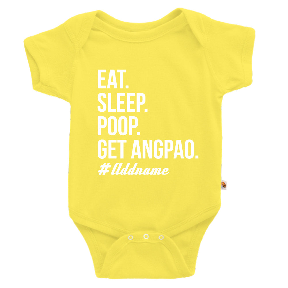 Teezbee.com - Eat Sleep Poop Get Ang Pao (Kids) - Romper (Light Yellow)