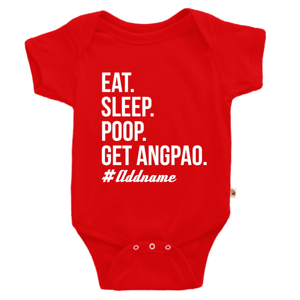 Teezbee.com - Eat Sleep Poop Get Ang Pao (Kids) - Romper (Red)