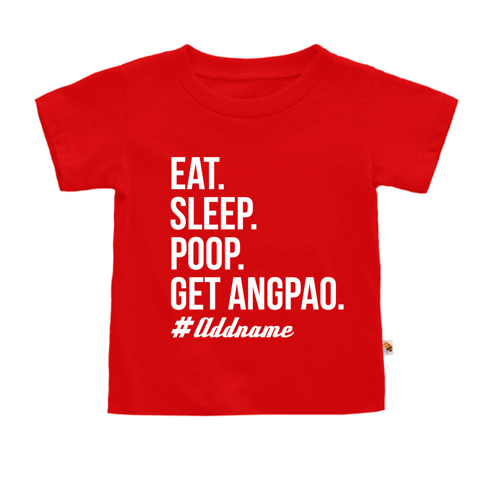 Teezbee.com - Eat Sleep Poop Get Ang Pao (Kids) - Kids-T (Red)