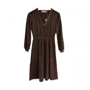 BROWN VELOUR DRESS
