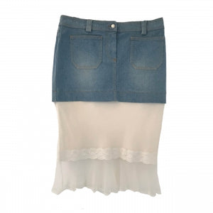 CHRISTIAN DIOR DENIM SILK SKIRT