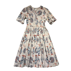 VINTAGE COCKEREL PRINT DRESS