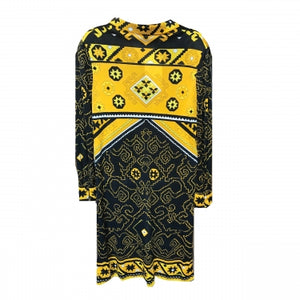 LEONARDS FASHIONS BLACK AND YELLOW PRINTED DRESS