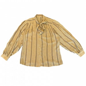 MUSTARD SILK BLOUSE WITH TIE