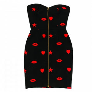PATRICK KELLY LIPS AND HEART PRINT DRESS