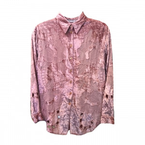 PINK VELVET BUTTON DOWN