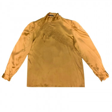 VINTAGE GOLD SILK BLOUSE