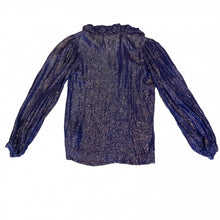 Load image into Gallery viewer, YVES SAINT LAURENT RIVE GAUCHE BLUE METALLIC BLOUSE
