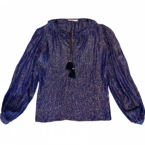 YVES SAINT LAURENT RIVE GAUCHE BLUE METALLIC BLOUSE