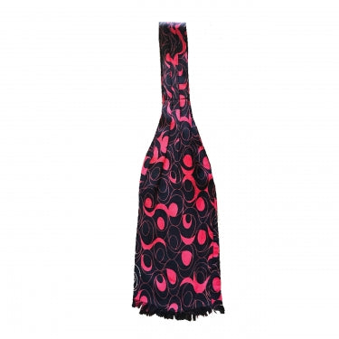 PINK AND BLACK FRINGED CRAVAT