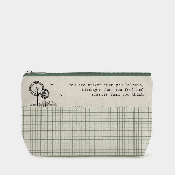 """You Are Braver"" Cotton Zip Toiletry Bag - Luvit!"