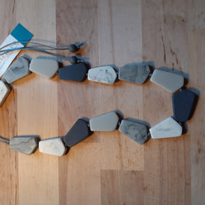 Grey Combo Geometric Resin Necklace - Luvit!