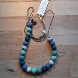 Adjustable Resin Ball Necklace - Blues and Greys - Luvit!