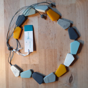 Blues and Yellows Combo Geometric Resin Necklace - Luvit!