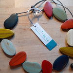 Load image into Gallery viewer, Asymmetric Wooden Pebble Necklace - Luvit!