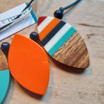 Load image into Gallery viewer, Resin and Wood Petal Necklace - multicoloured, orange and wood - Luvit!