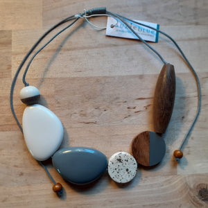 Mixed Shape Resin and Wood Disc Necklace - Grey, white and wood - Luvit!