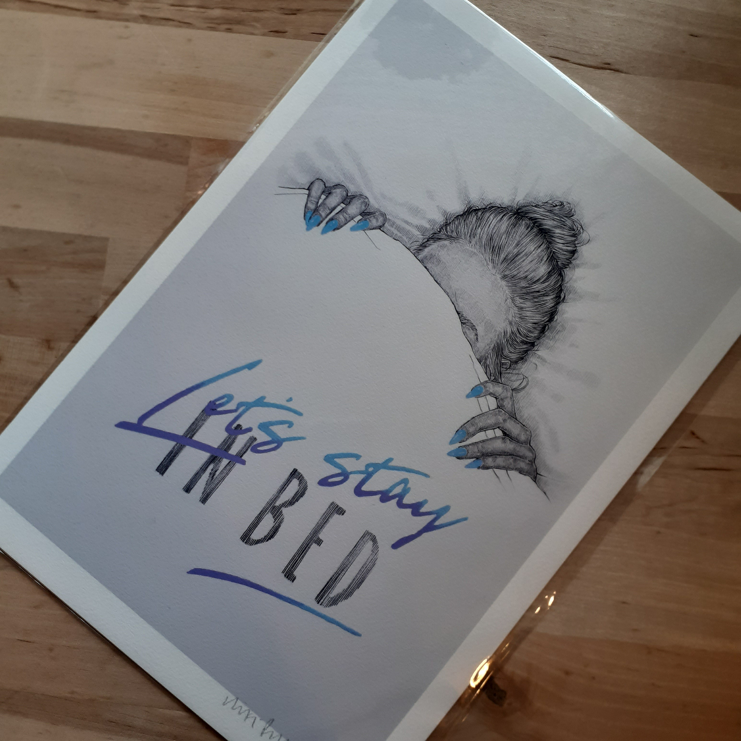 """Let's Stay in Bed"" - hand signed A4 Print - Luvit!"
