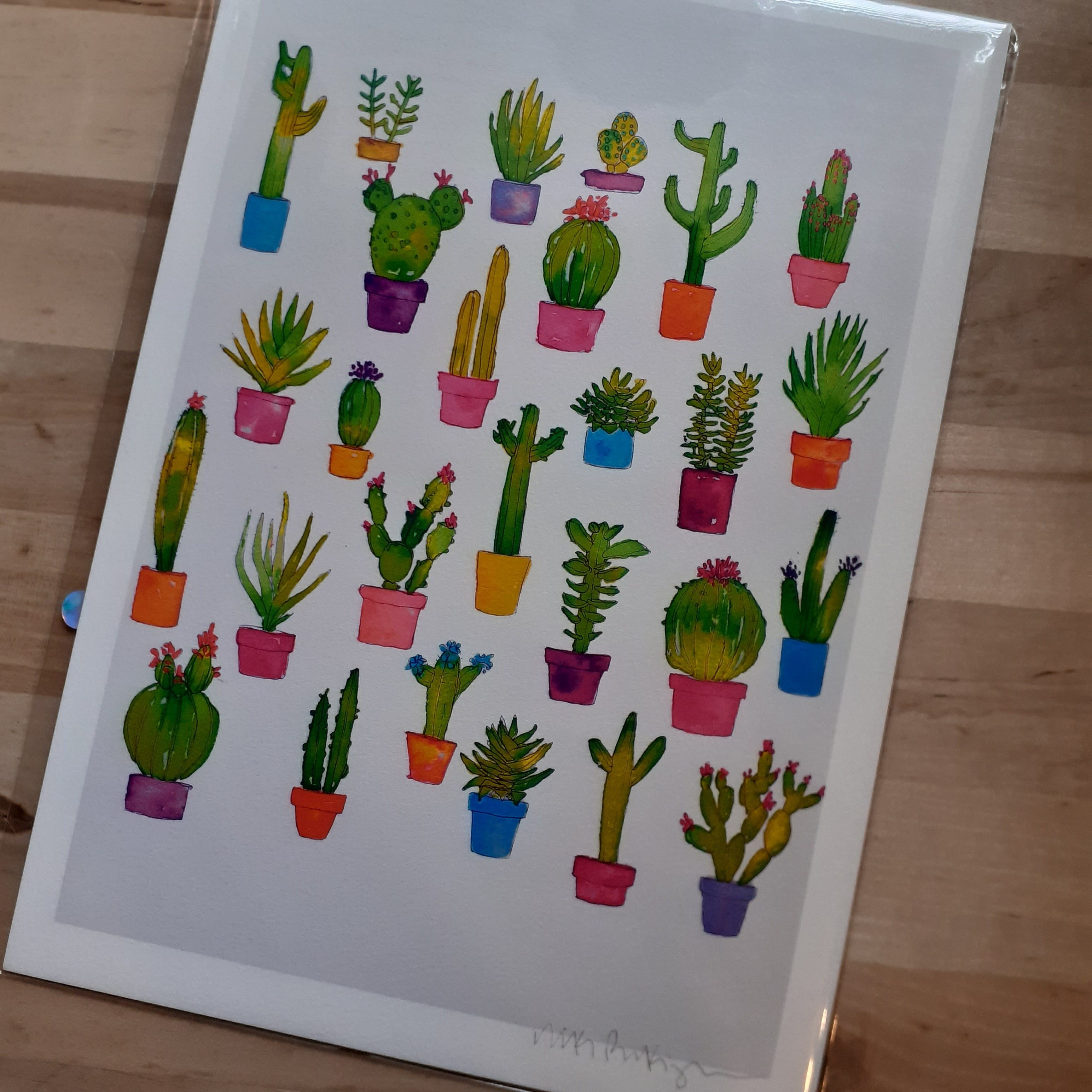 Cactus Collection Love- hand signed A4 Print - Luvit!