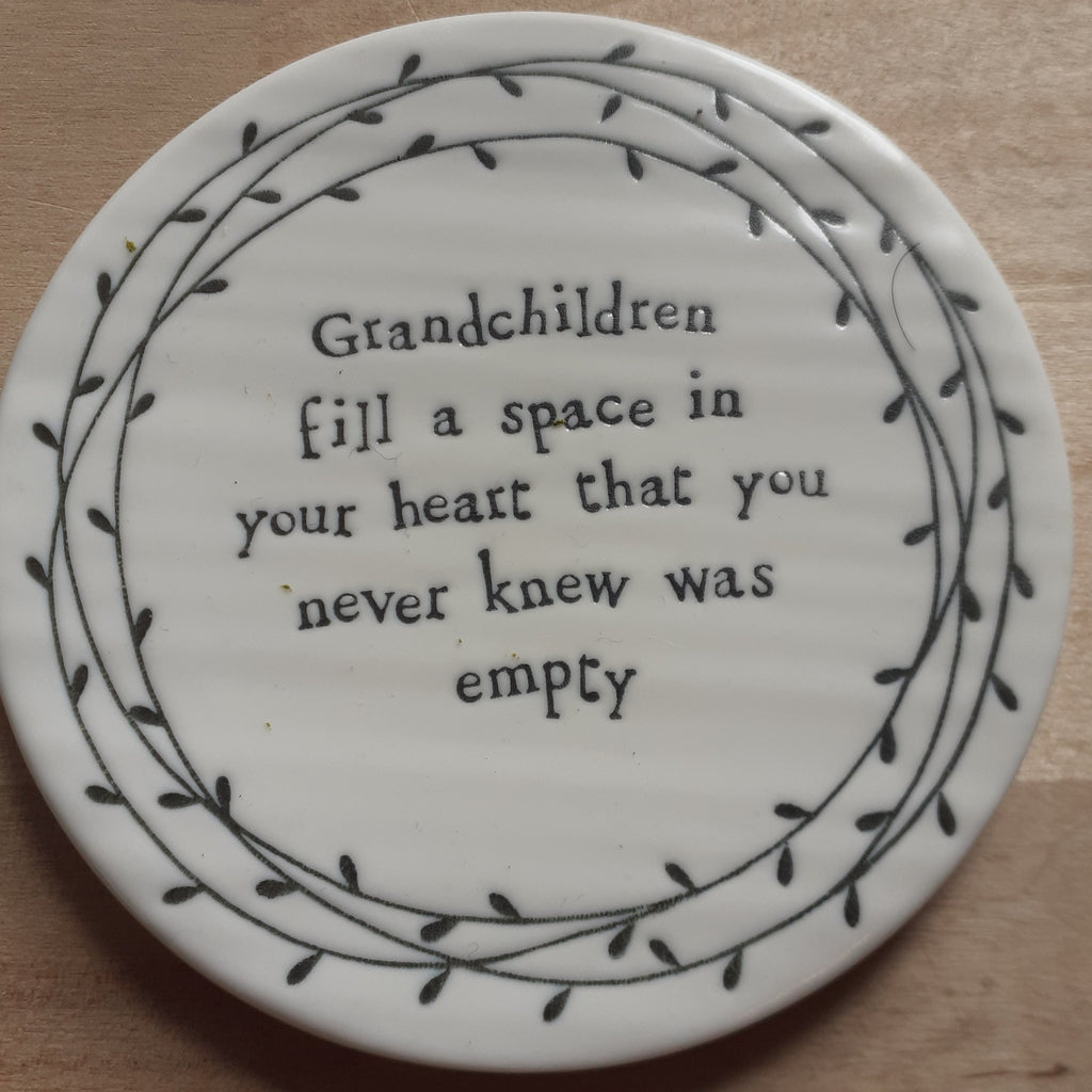 'Grandchildren fill a space...' Ceramic Coaster - Luvit!